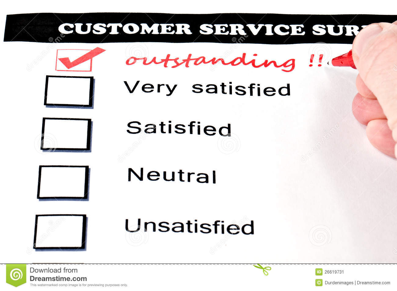 Customer service survey form. extra checkbox drawn with handwritten ...