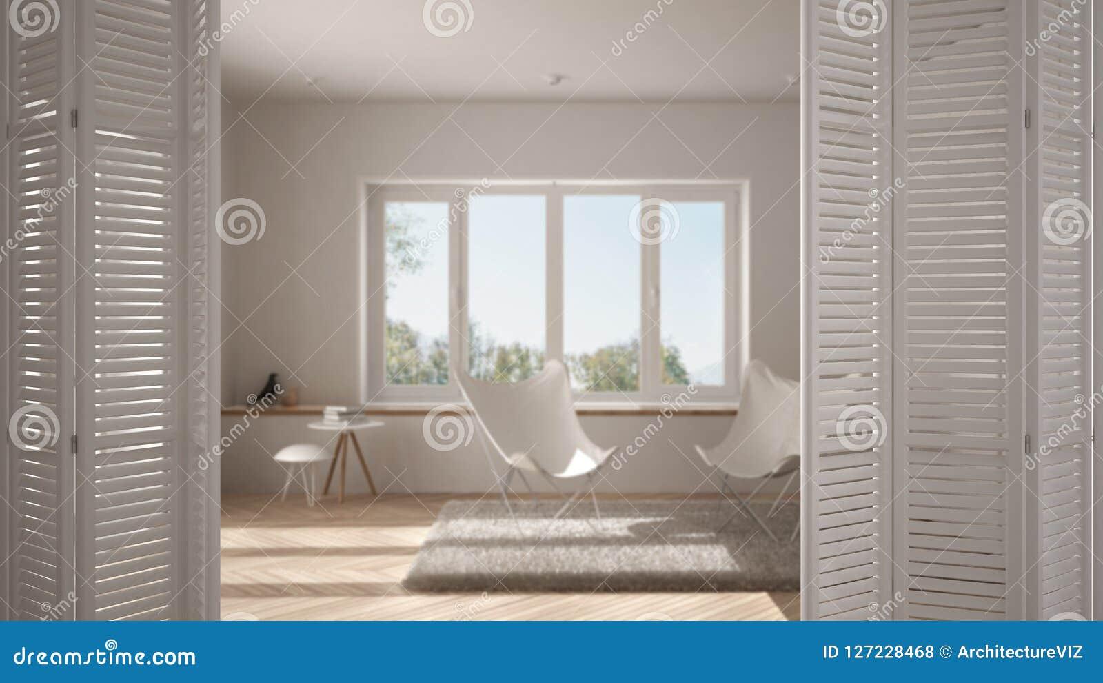 Ouverture blanche de porte de pliage sur le salon minimaliste moderne avec la grande fenêtre, escalier en spirale, conception int