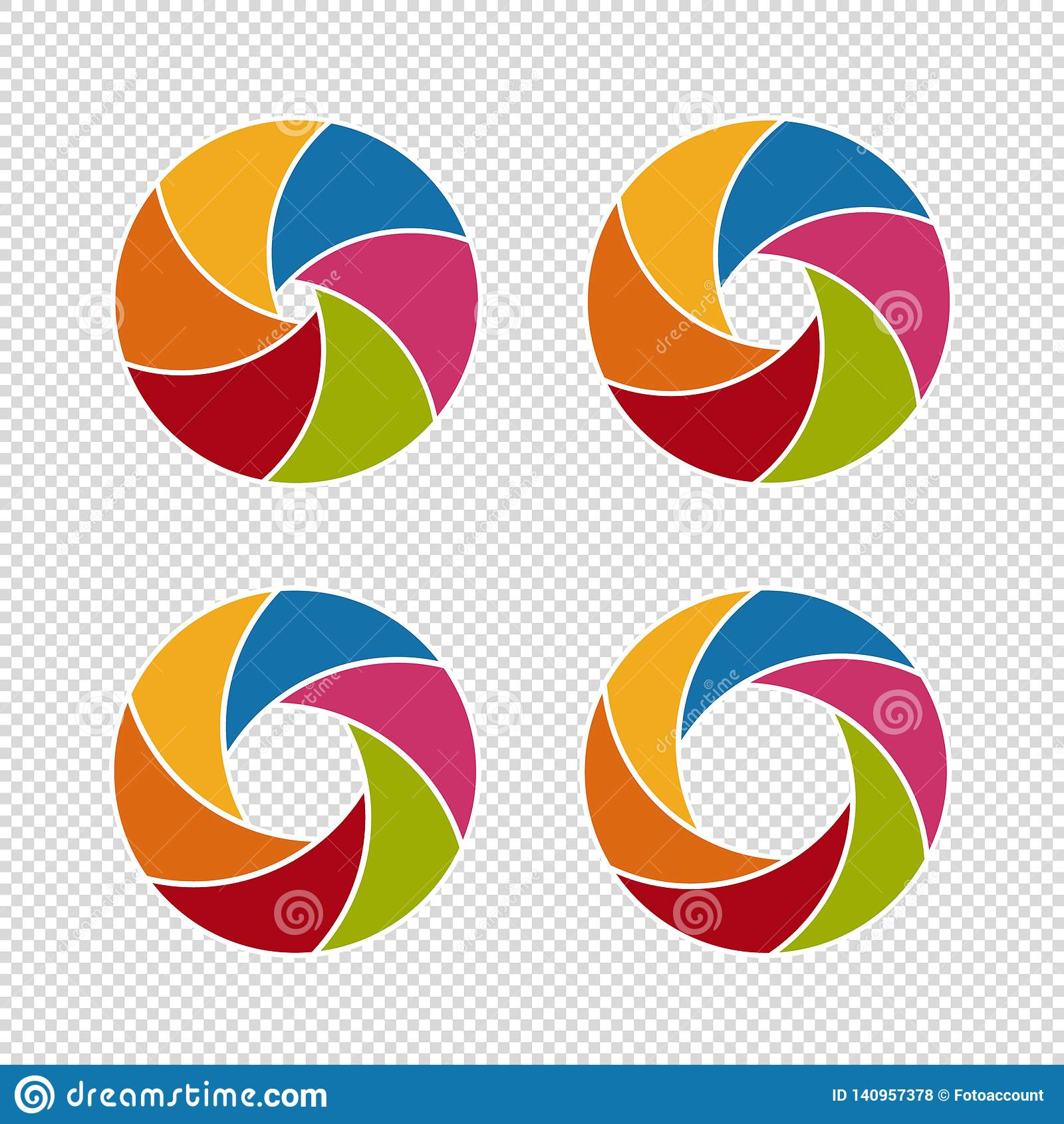 Ouvertures d obturateur de caméra - ensemble coloré d illustrations de vecteur - d isolement sur le fond blanc