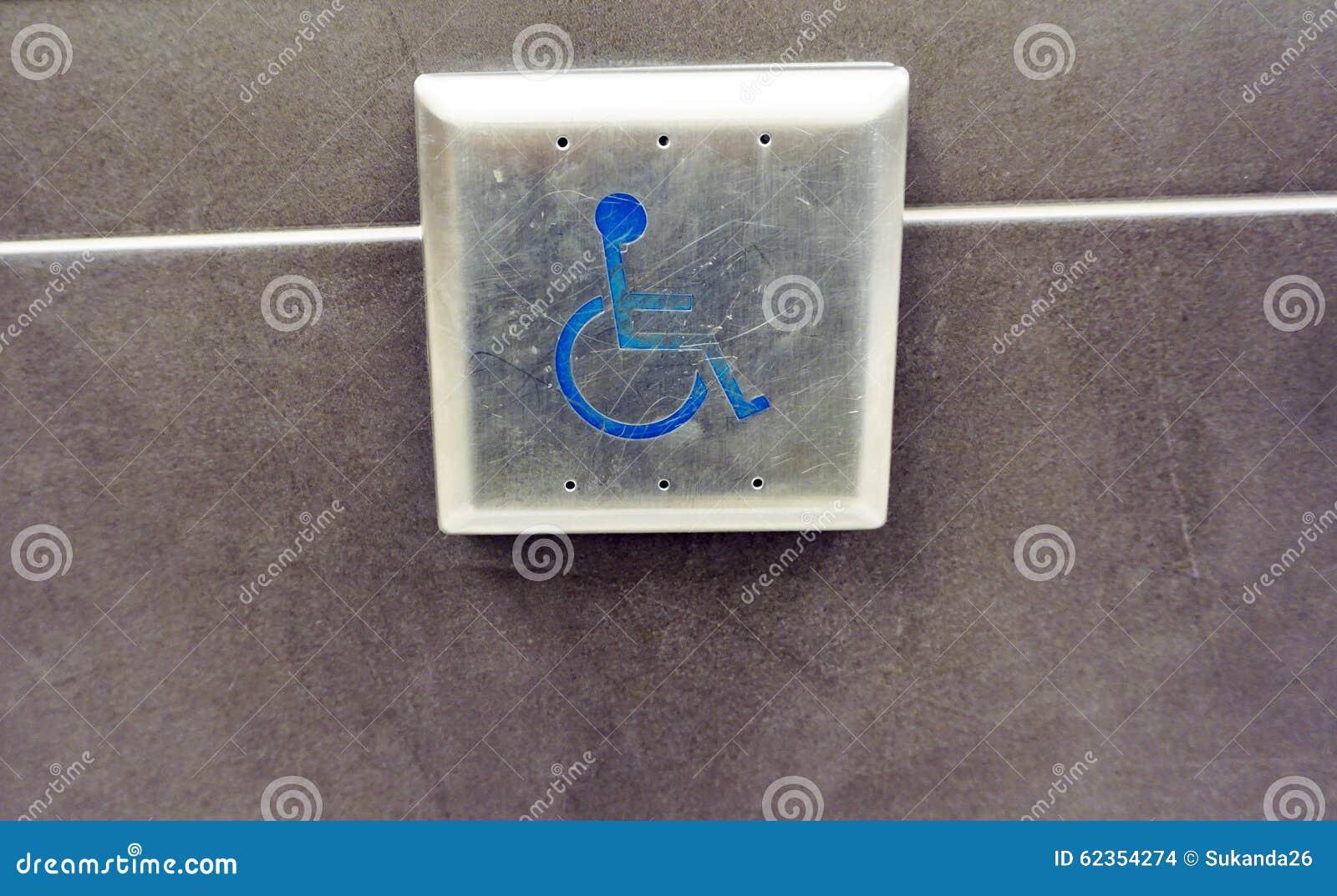 Ouvreur De Porte De Bouton Poussoir D 39 Handicap Photo Stock