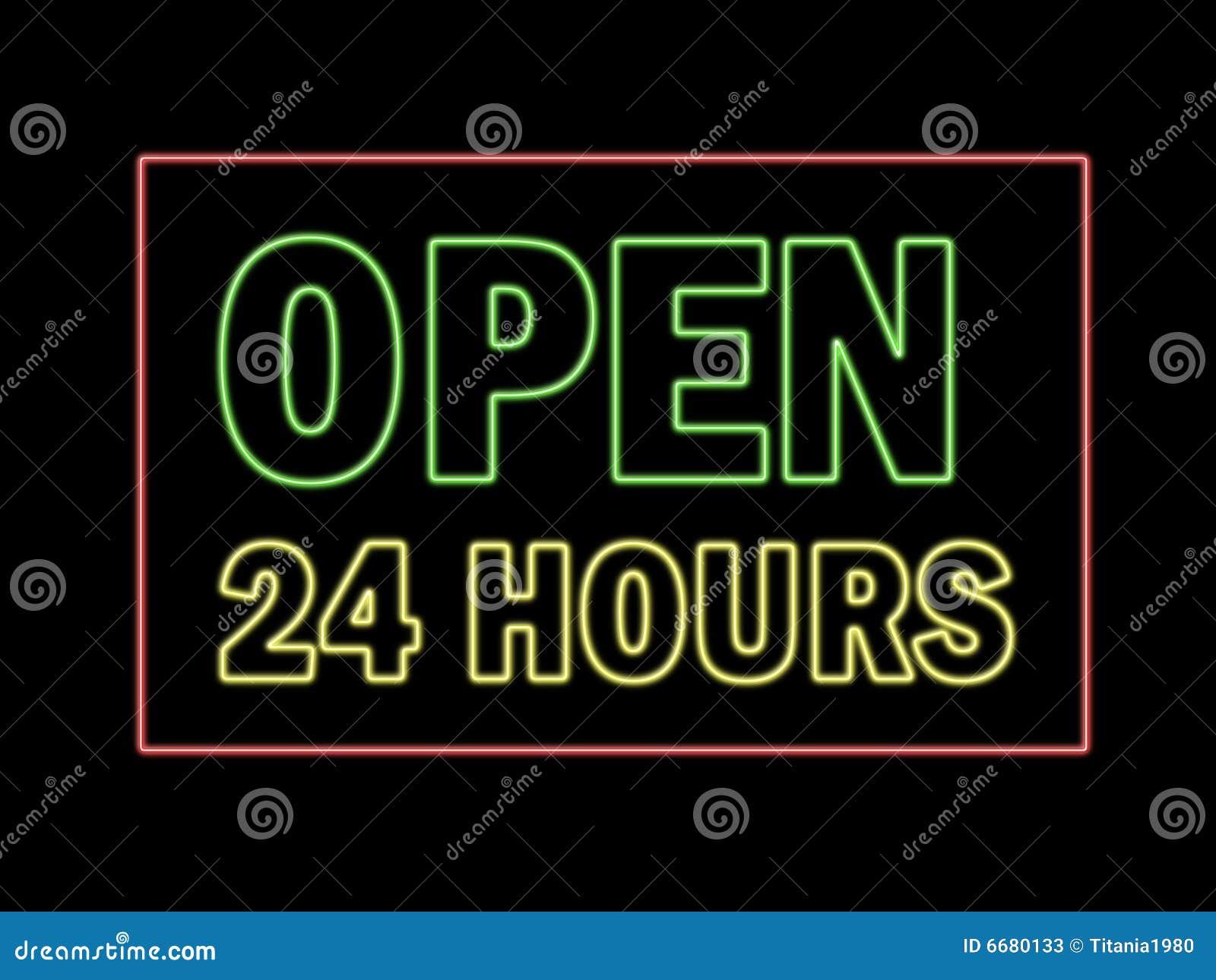 Ouvrez 24 heures en néon