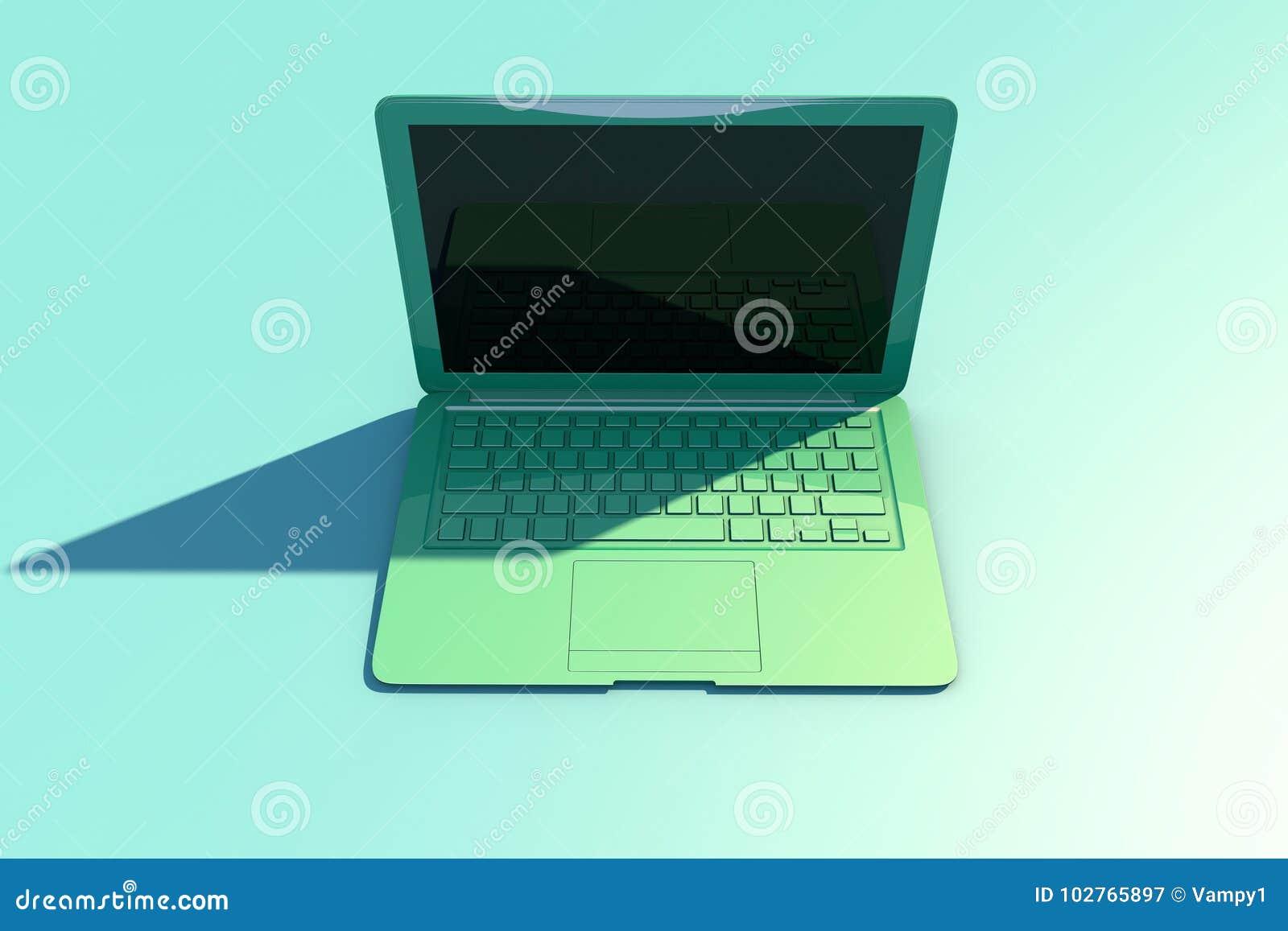 Ouvrez l ordinateur portable avec l écran et le clavier, longue ombre