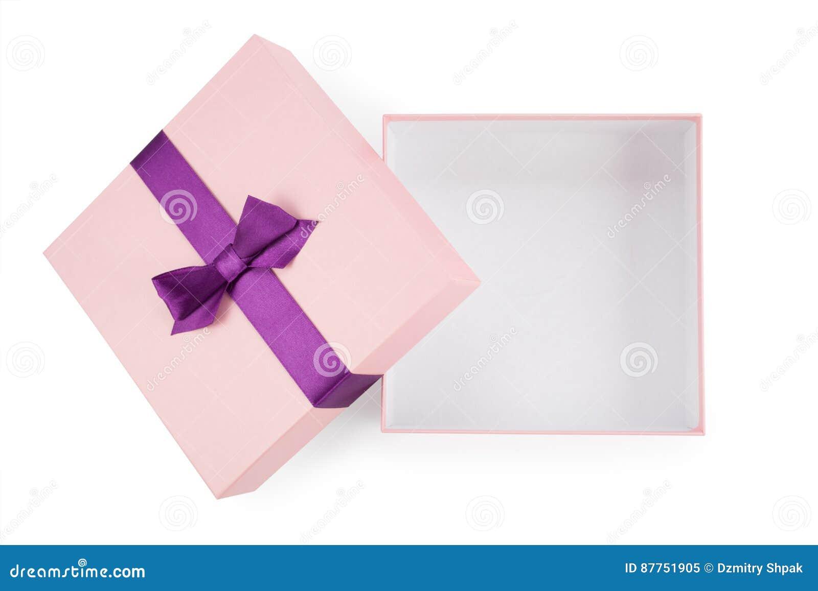 Ouvrez la boîte rose avec la vue supérieure d arc
