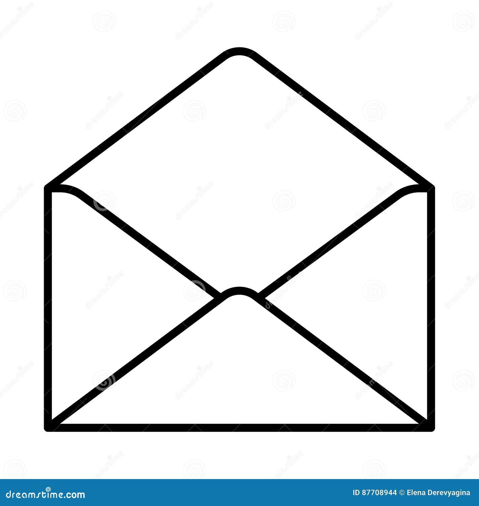 Ouvrez la découpe de noir d icône d enveloppe sur le fond blanc de l illustration
