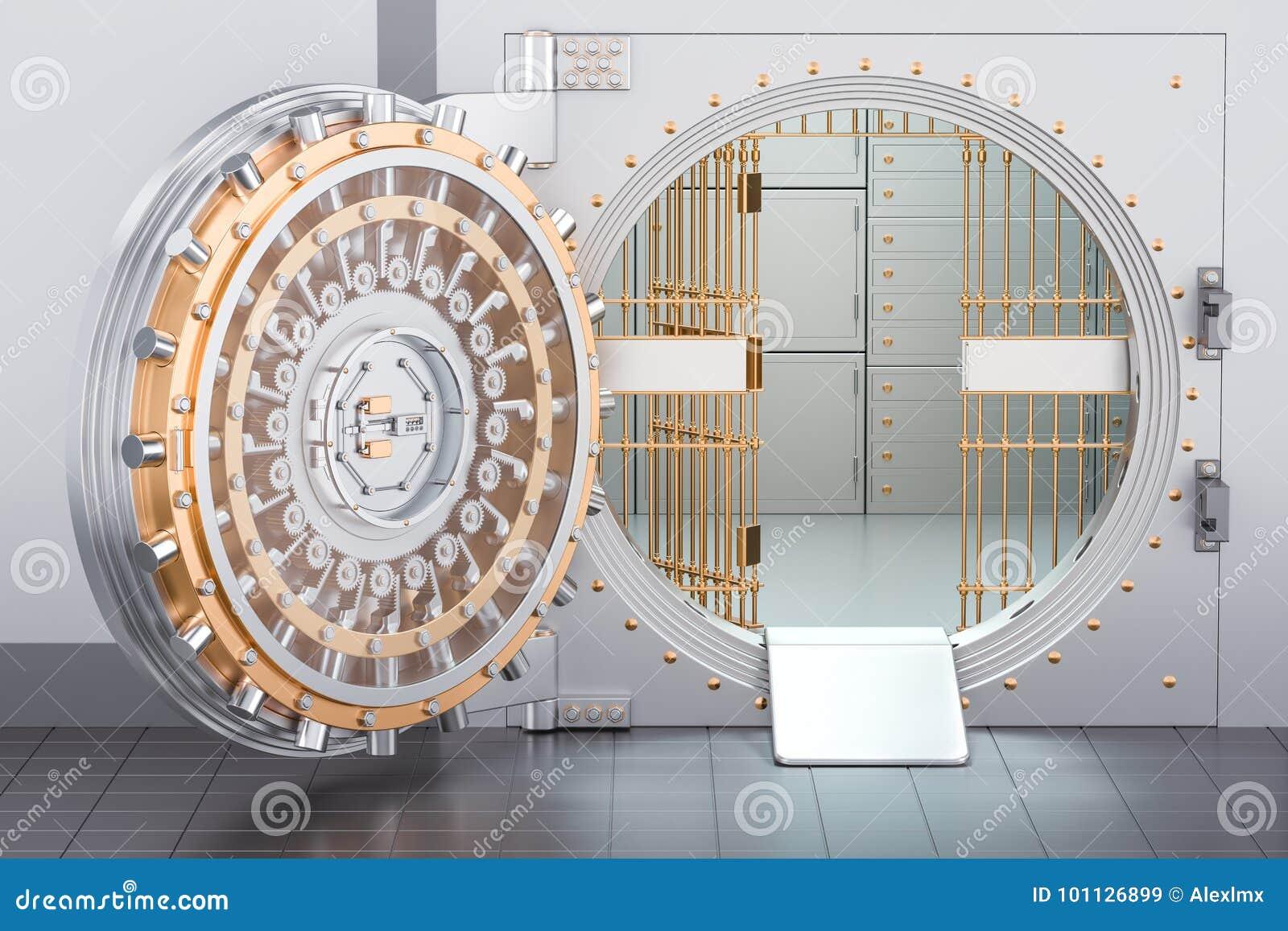Ouvrez La Porte De Chambre Forte De Banque, 3D Illustration Stock ...