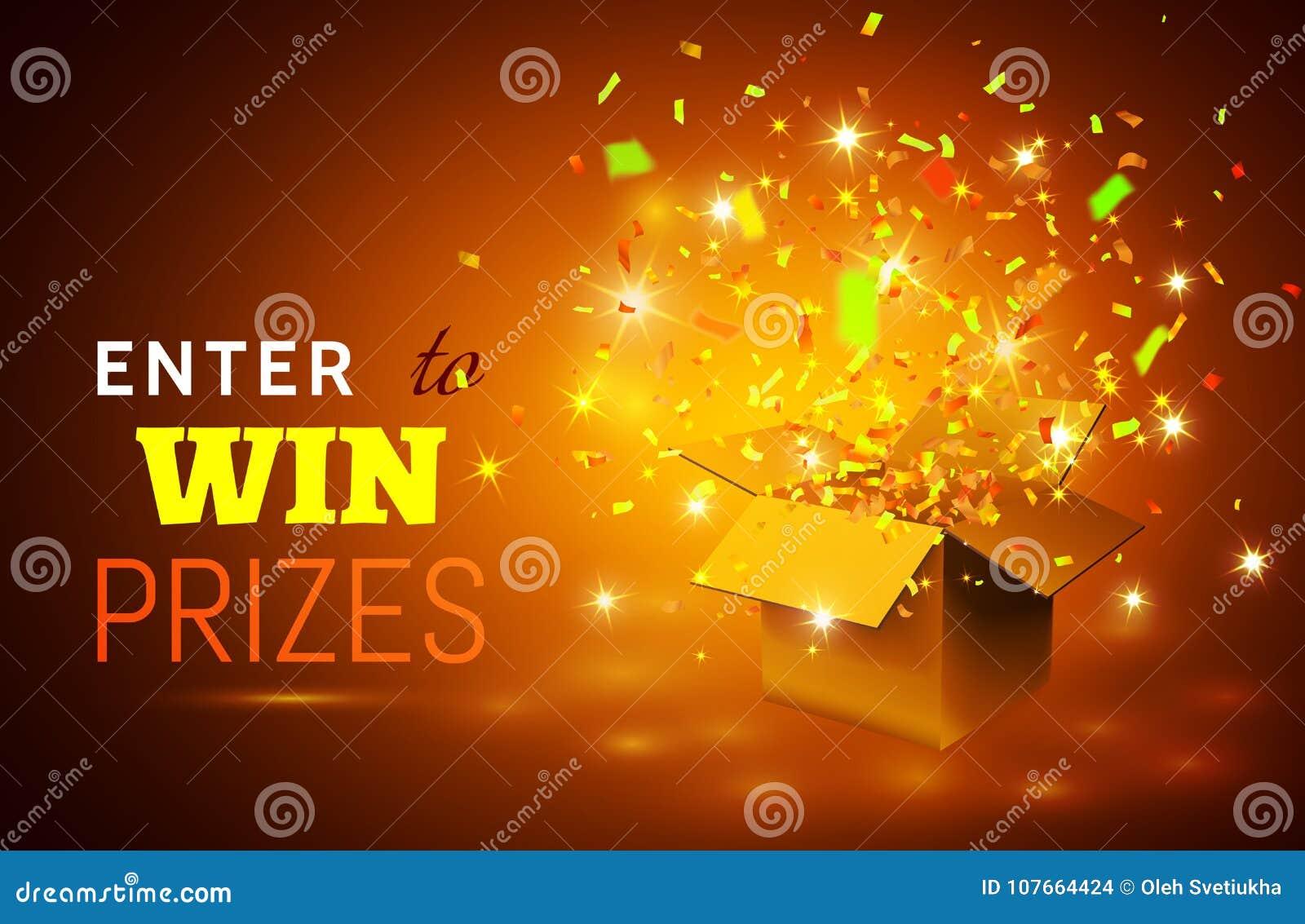 La Boite Jaune Prix ouvrez le boîte-cadeau et les confettis sur le fond jaune