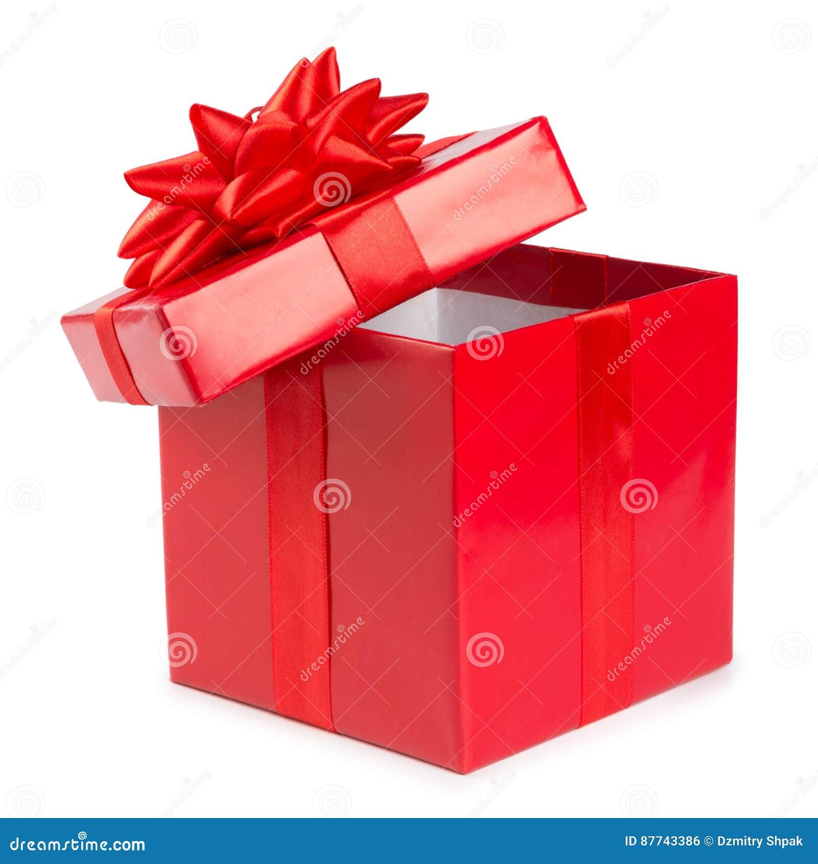 Ouvrez le boîte-cadeau rouge avec le ruban d isolement sur le fond blanc
