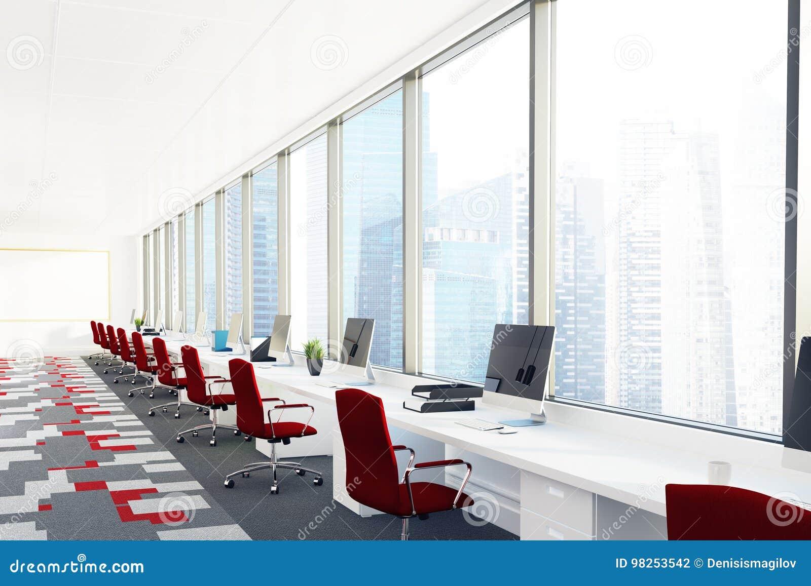 Ouvrez le bureau avec les chaises rouges coin illustration stock