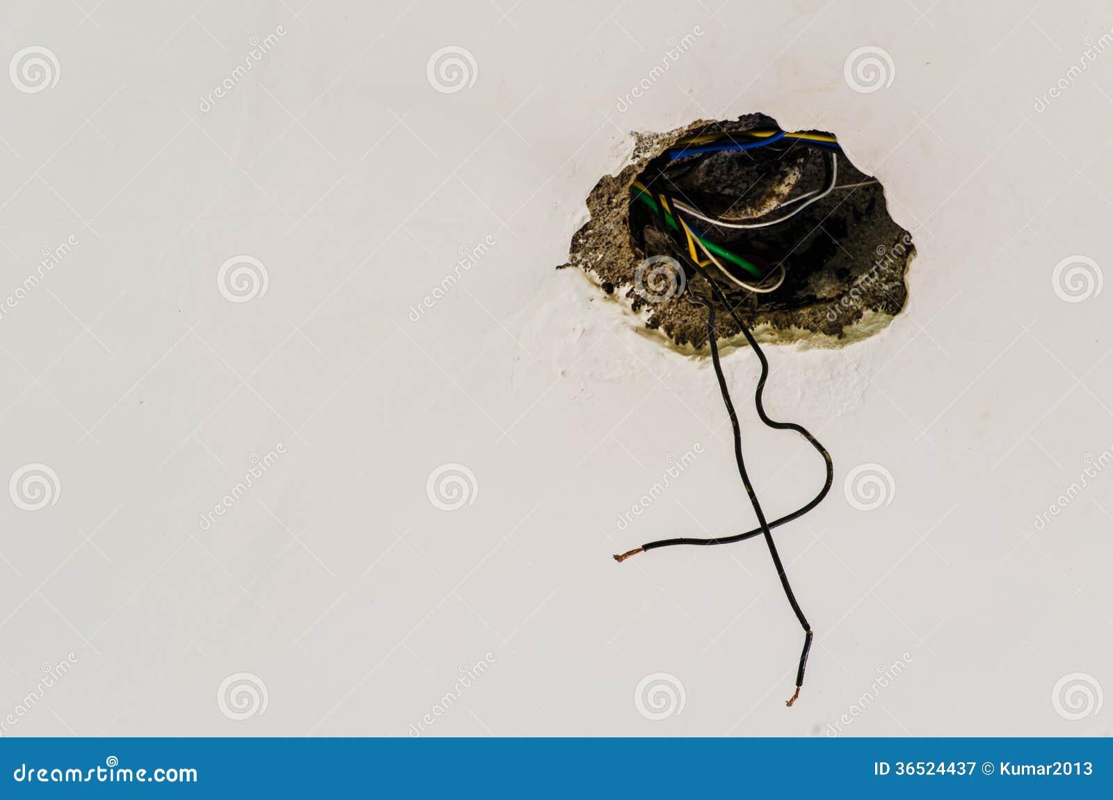 Ouvrez le câblage électrique sur le mur