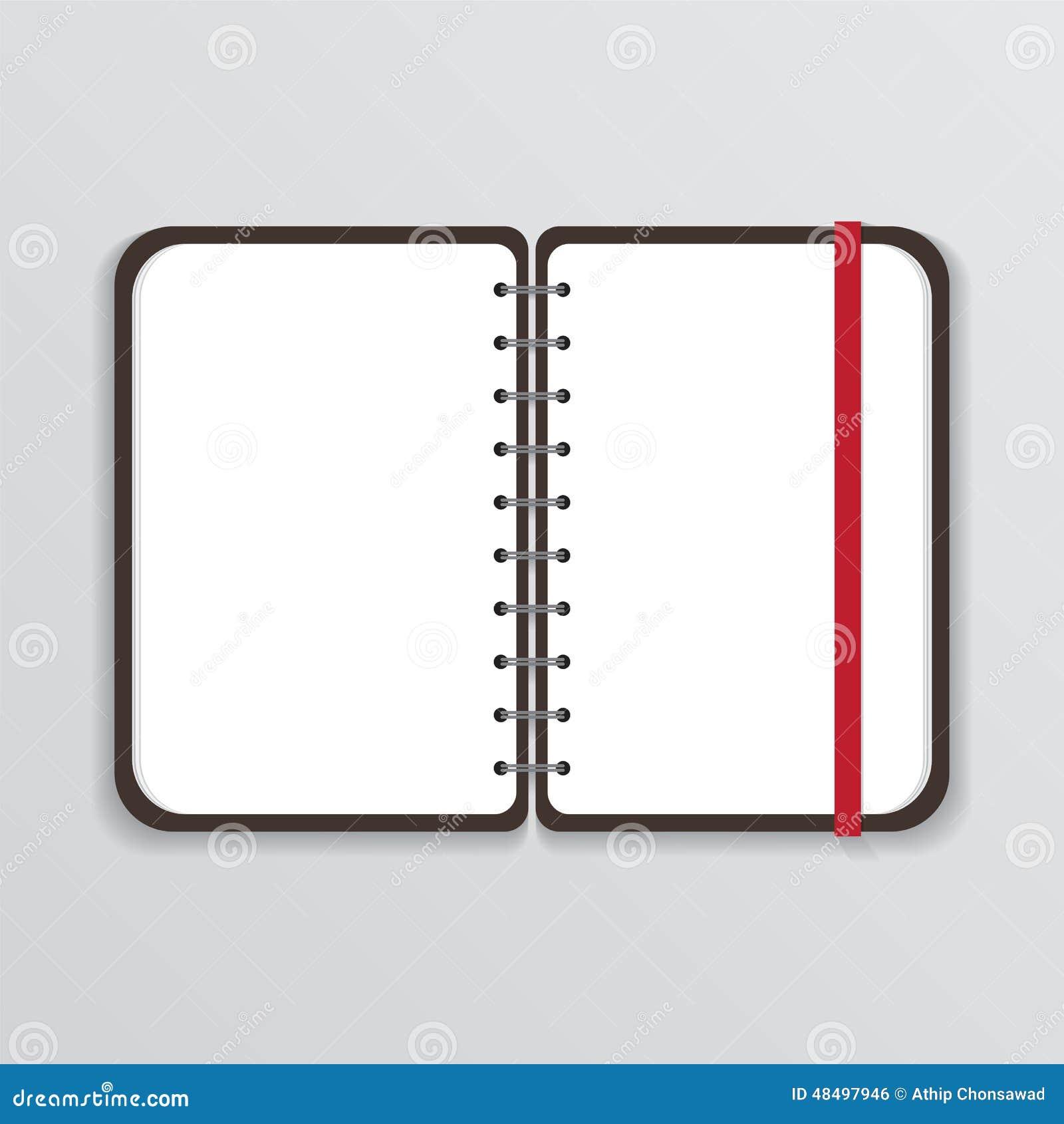 Ouvrez le carnet avec le page blanc et la bande élastique