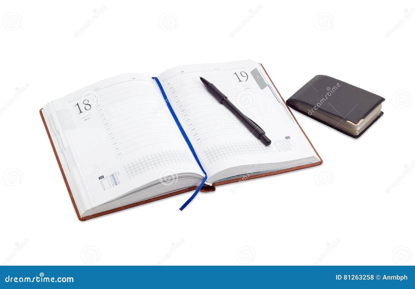 Ouvrez Le Journal Intime D Affaires Stylo La Dessus Portefeuille Pour Des