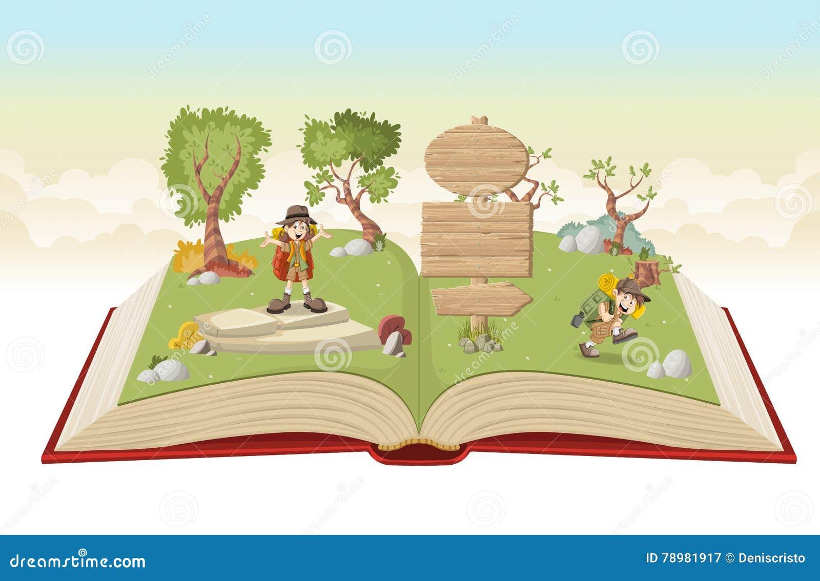 Ouvrez le livre avec des enfants de bande dessinée dans l équipement d explorateur