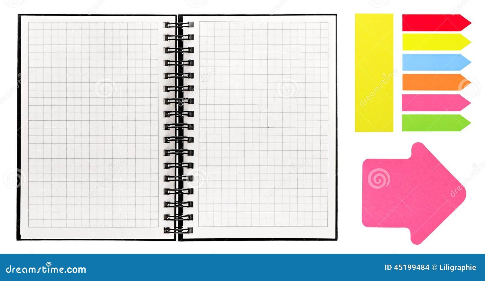ouvrez le livre avec la reliure en spirale et les notes collantes color es photo stock image. Black Bedroom Furniture Sets. Home Design Ideas