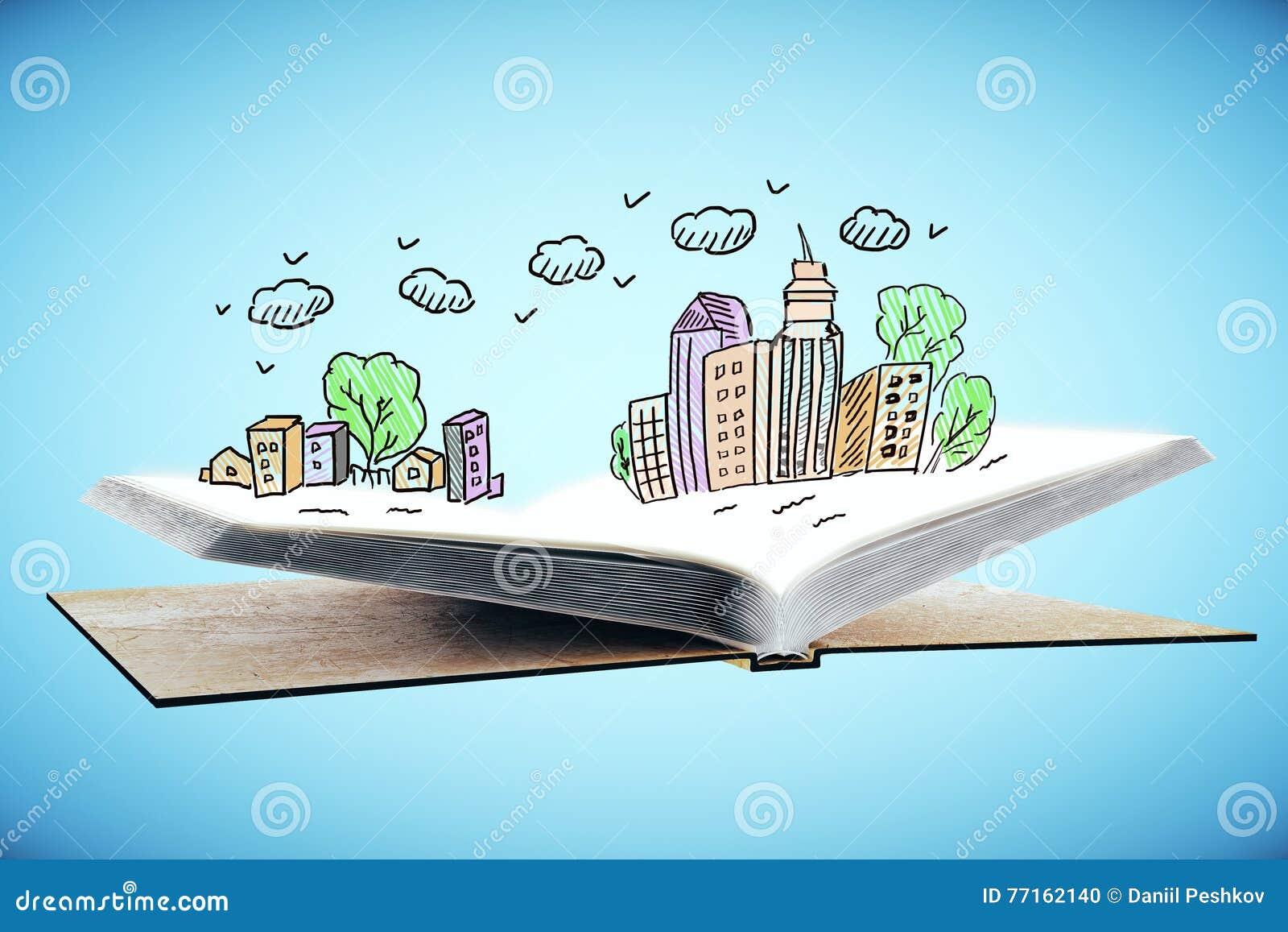 Ouvrez le livre avec le dessin de ville
