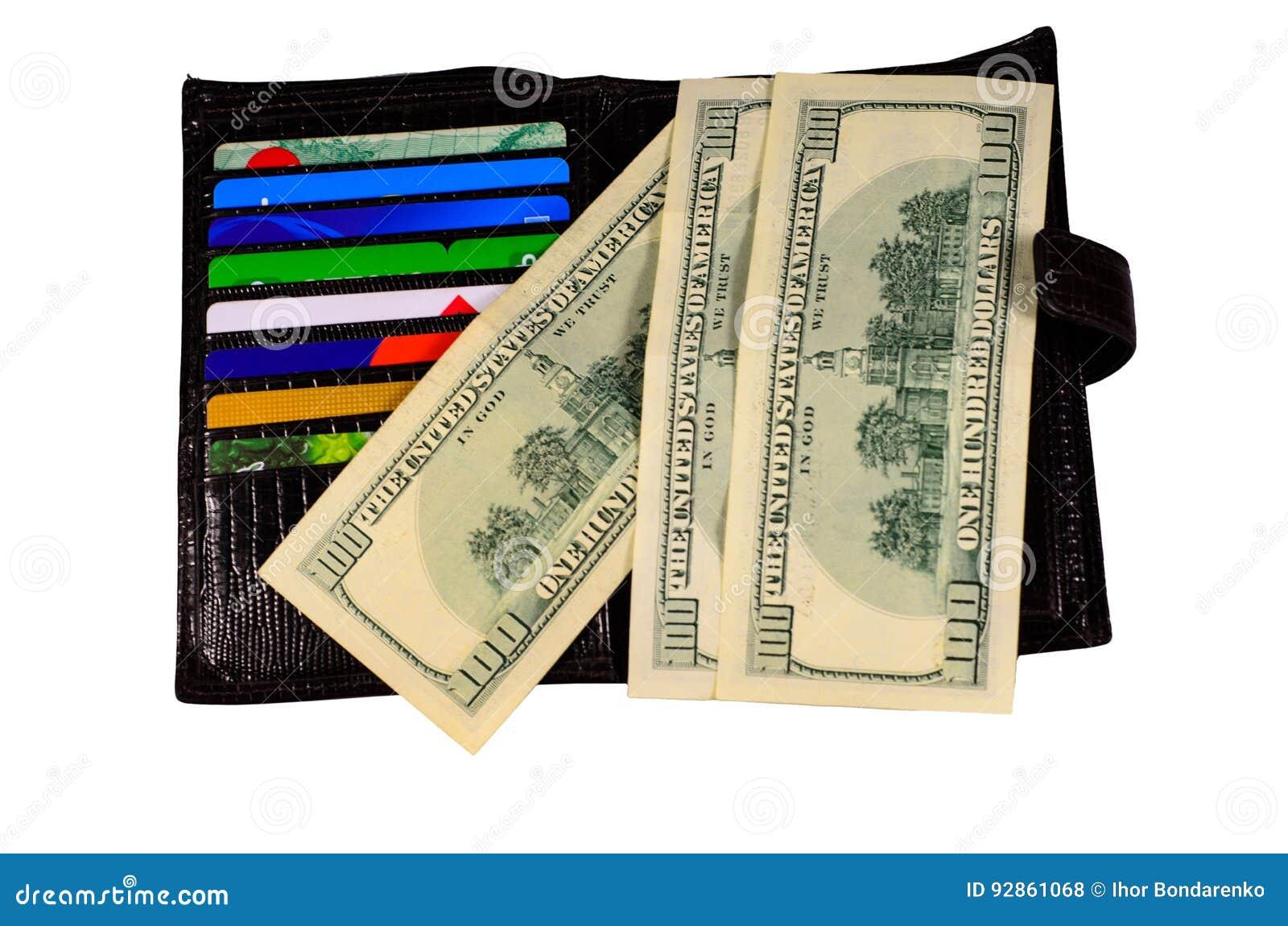 Ouvrez le portefeuille avec des cartes de crédit d argent et d isolement sur le blanc