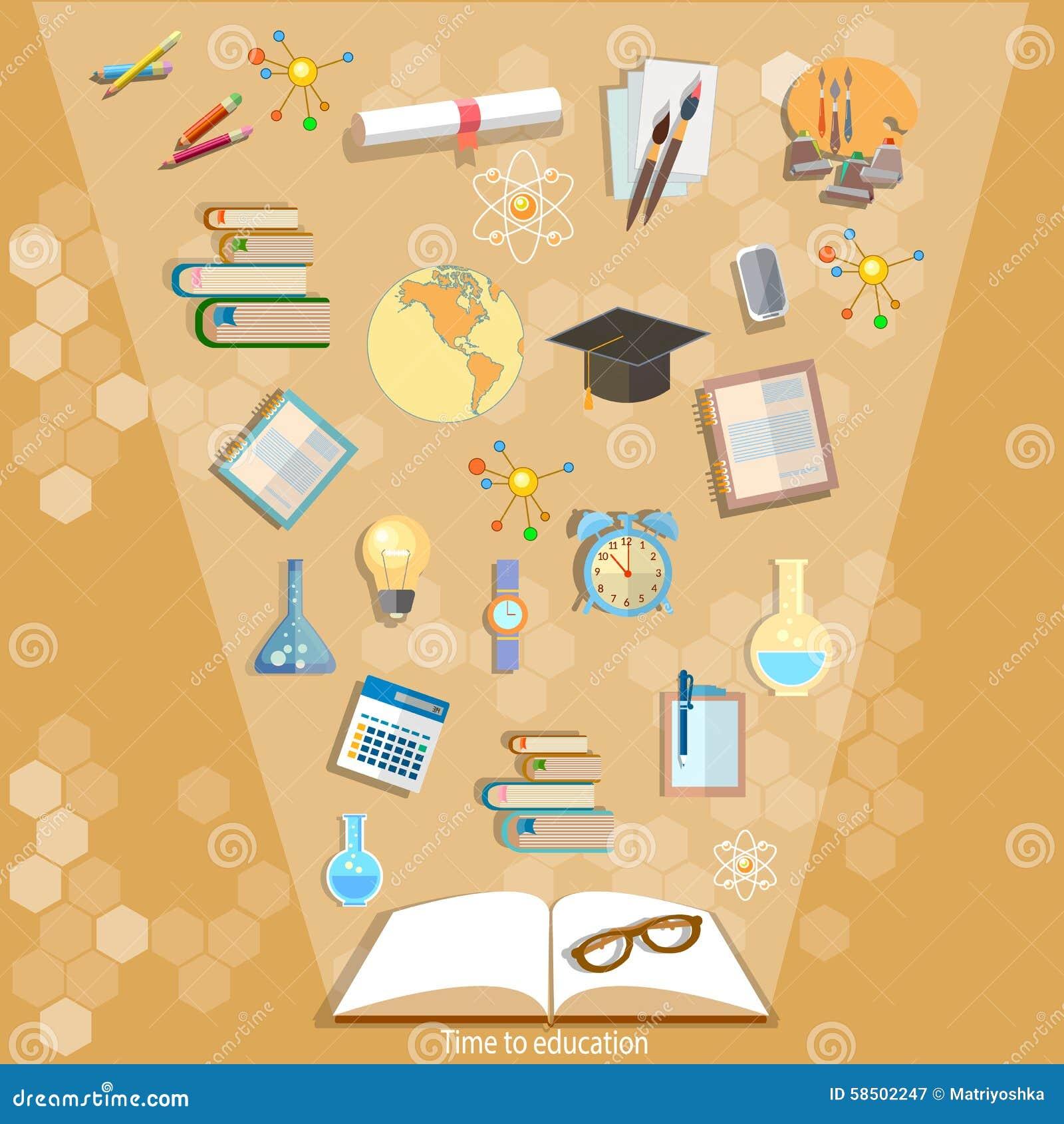 Ouvrez les livres et les icônes de l éducation efficace de concept d éducation