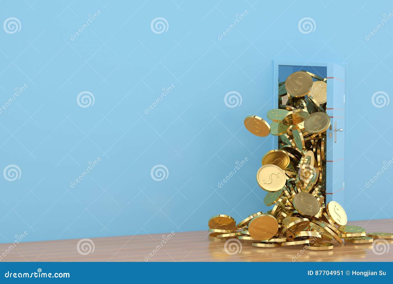 Ouvrez les pièces d or de porte tombent, l illustration 3D