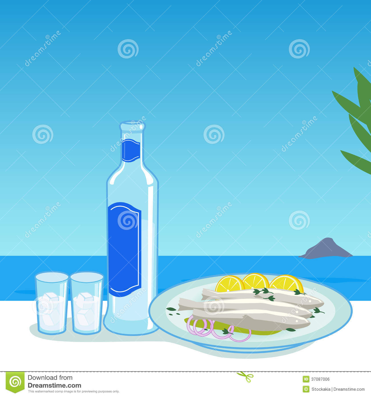 Ouzo And Fish In Greece Stock Vector. Illustration Of