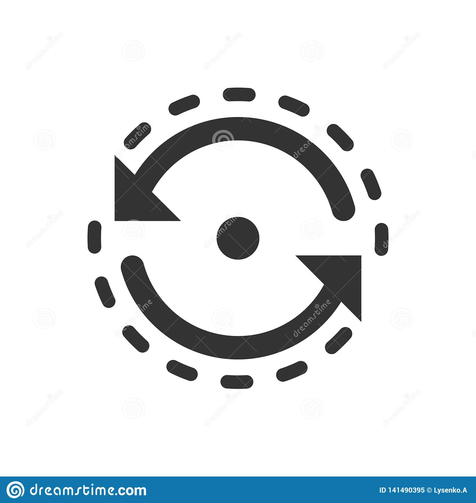 Oval with arrows icon in flat style. Consistency repeat vector illustration on white isolated background. Reload rotation business