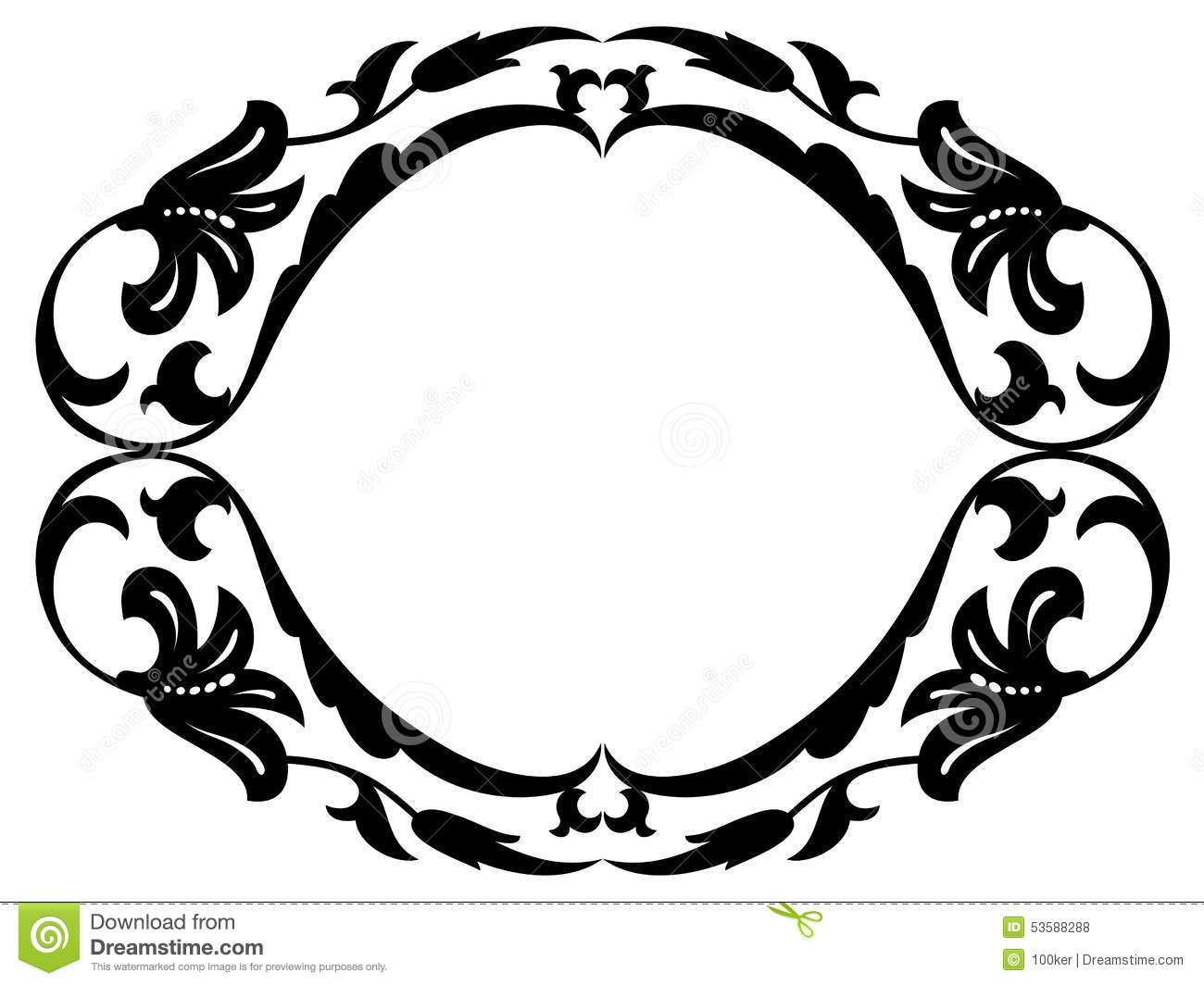 Vertical Oval Frame Clipart Oval baroque ornamental