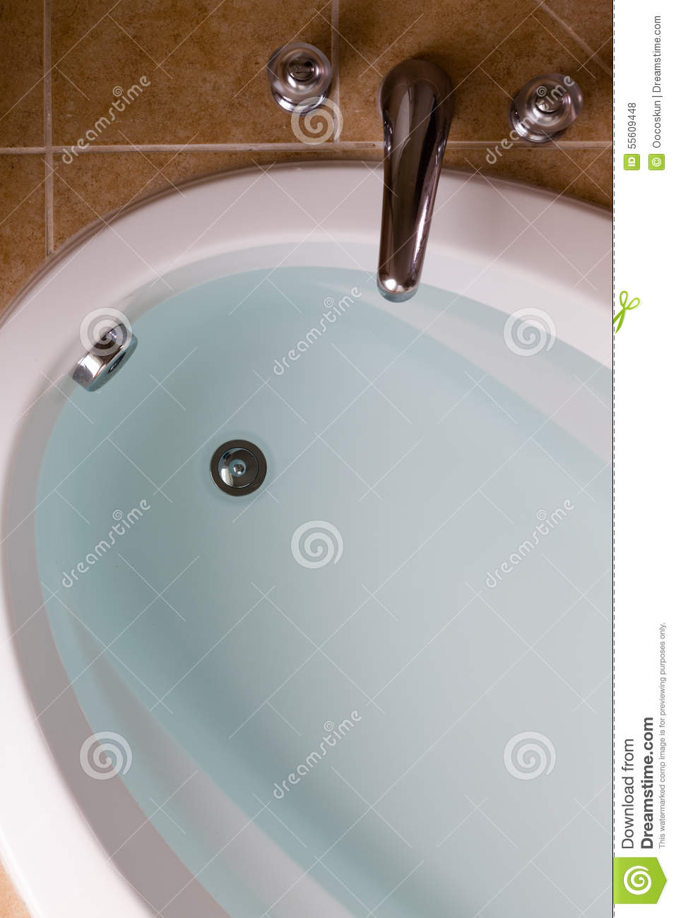 Oval Bathtub Full Of Clean Water Ready For A Bath Stock Photo ...