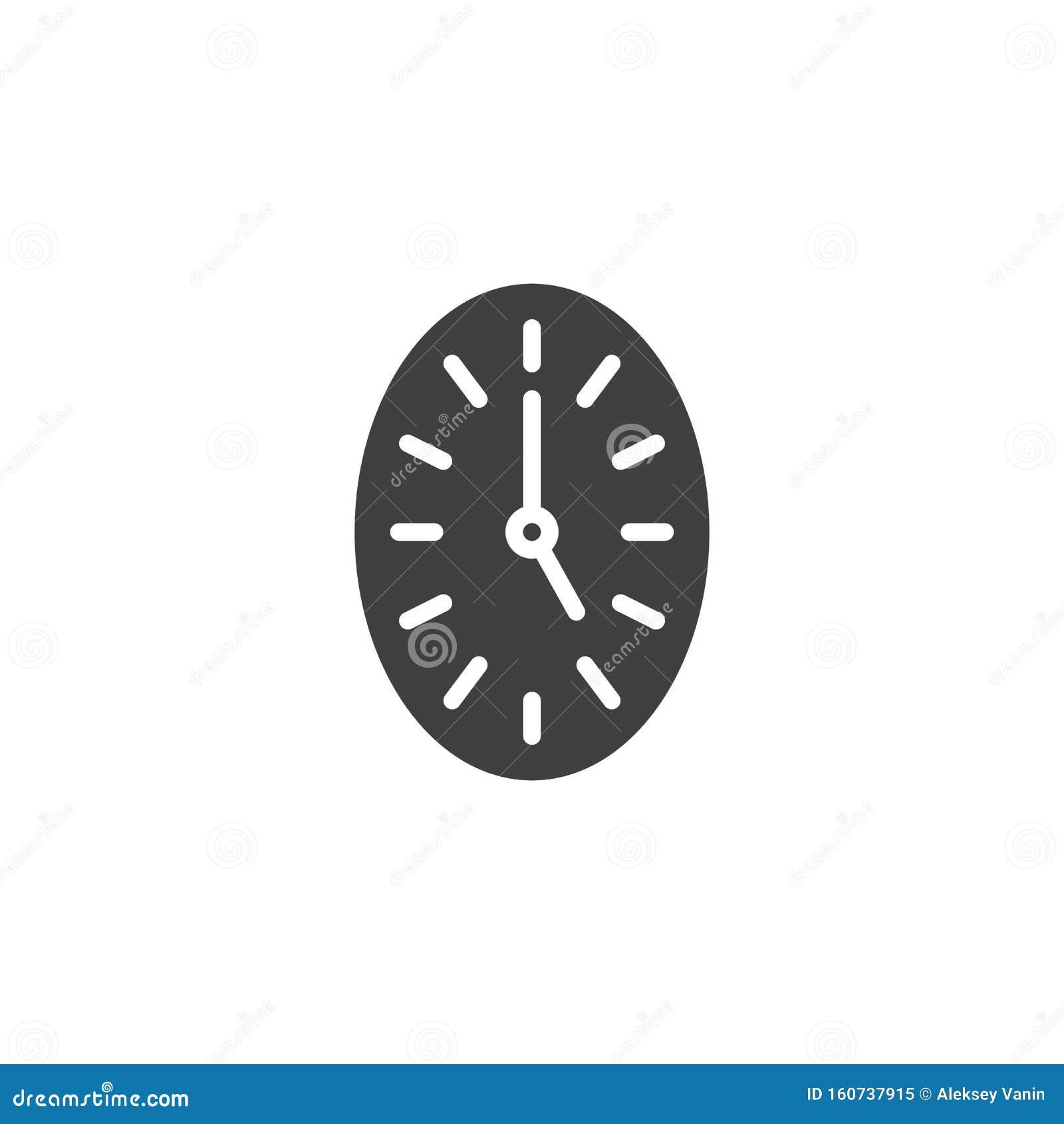 Oval clock vector icon