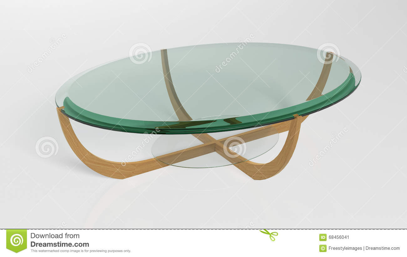 Oval Contemporary Coffee Table, Furniture Isolated On White Background  Stock Image