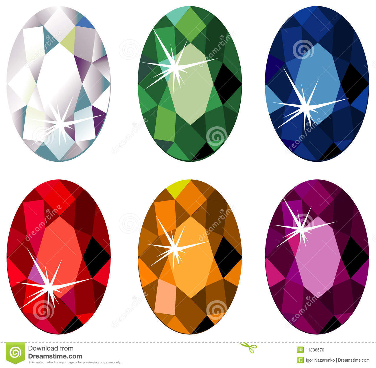 Oval Cut Precious Stones With Sparkle Stock Photo Image