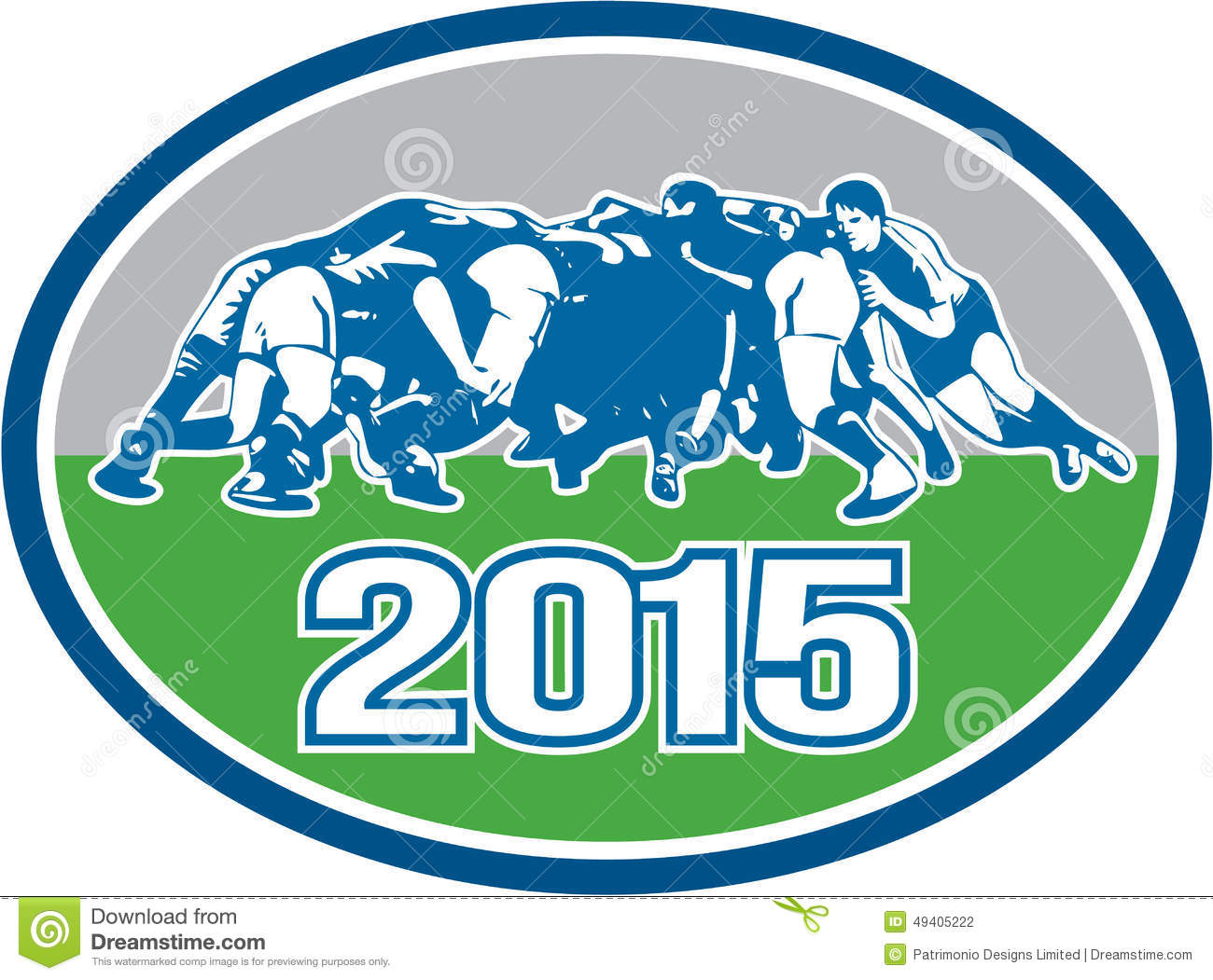 Download Oval Des Rugby-Gedränge-2015 Vektor Abbildung - Illustration von scrummaging, rugby: 49405222