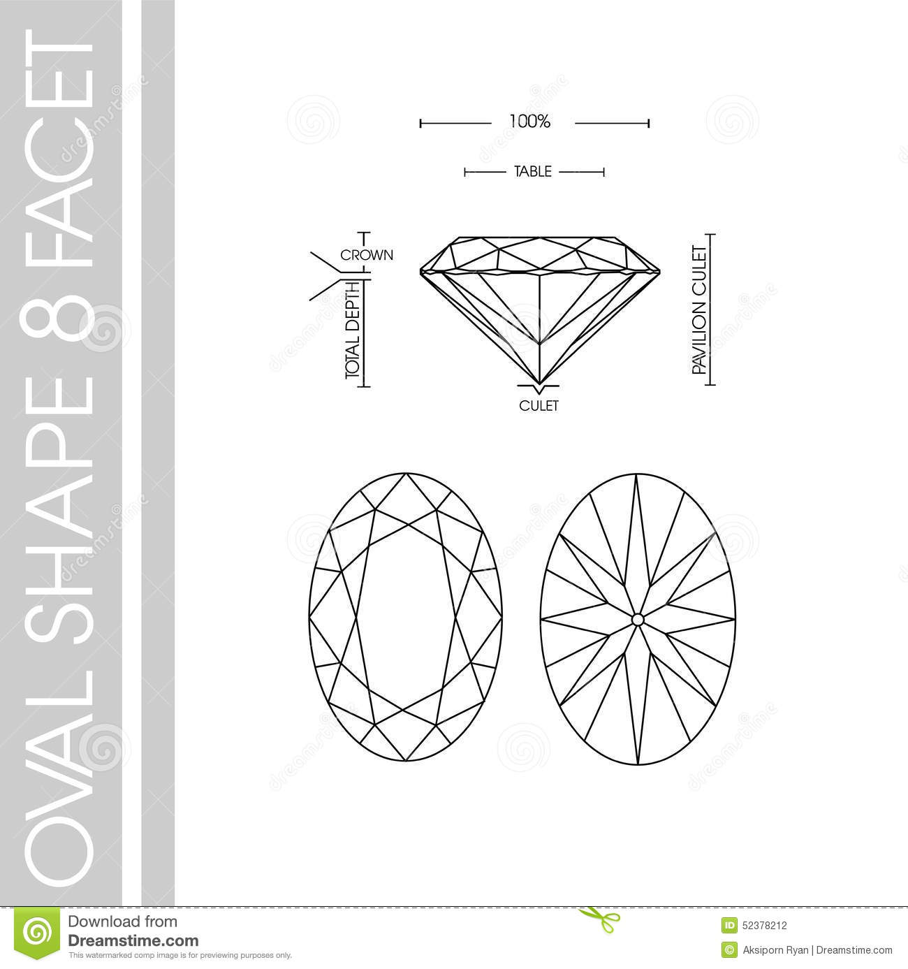 Oval Diamond Shape 8 Facet Stock Illustration
