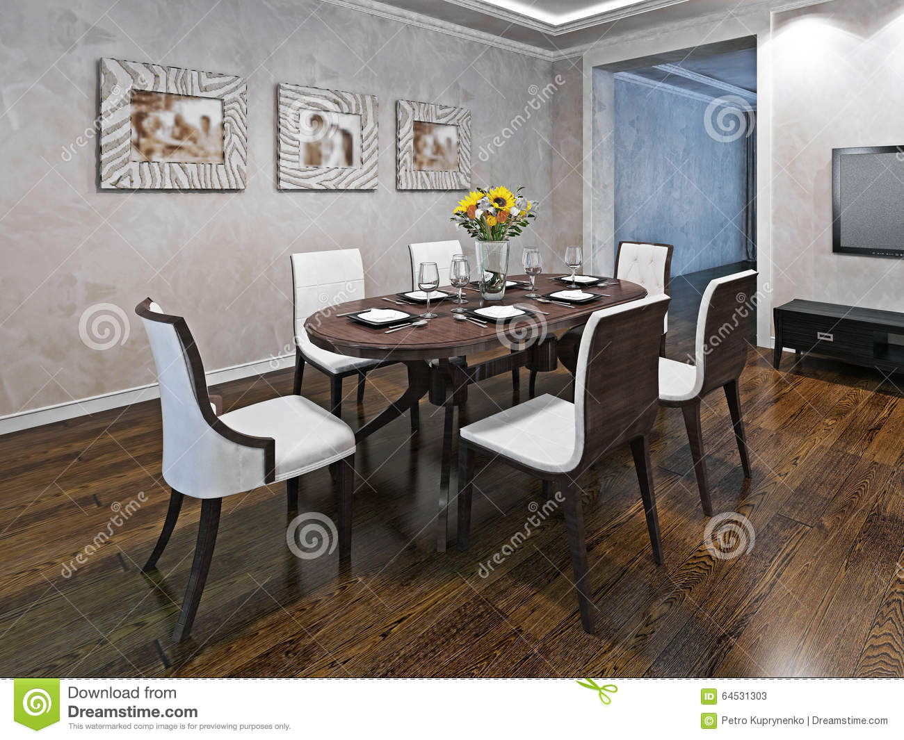 Oval dining table for six person stock image image 64531303 for Dining room table 6 person