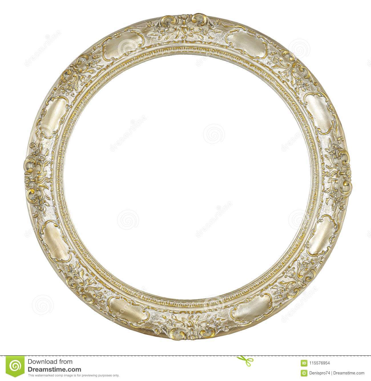 Oval Frame Isolated On White Stock Photo - Image of golden, home ...