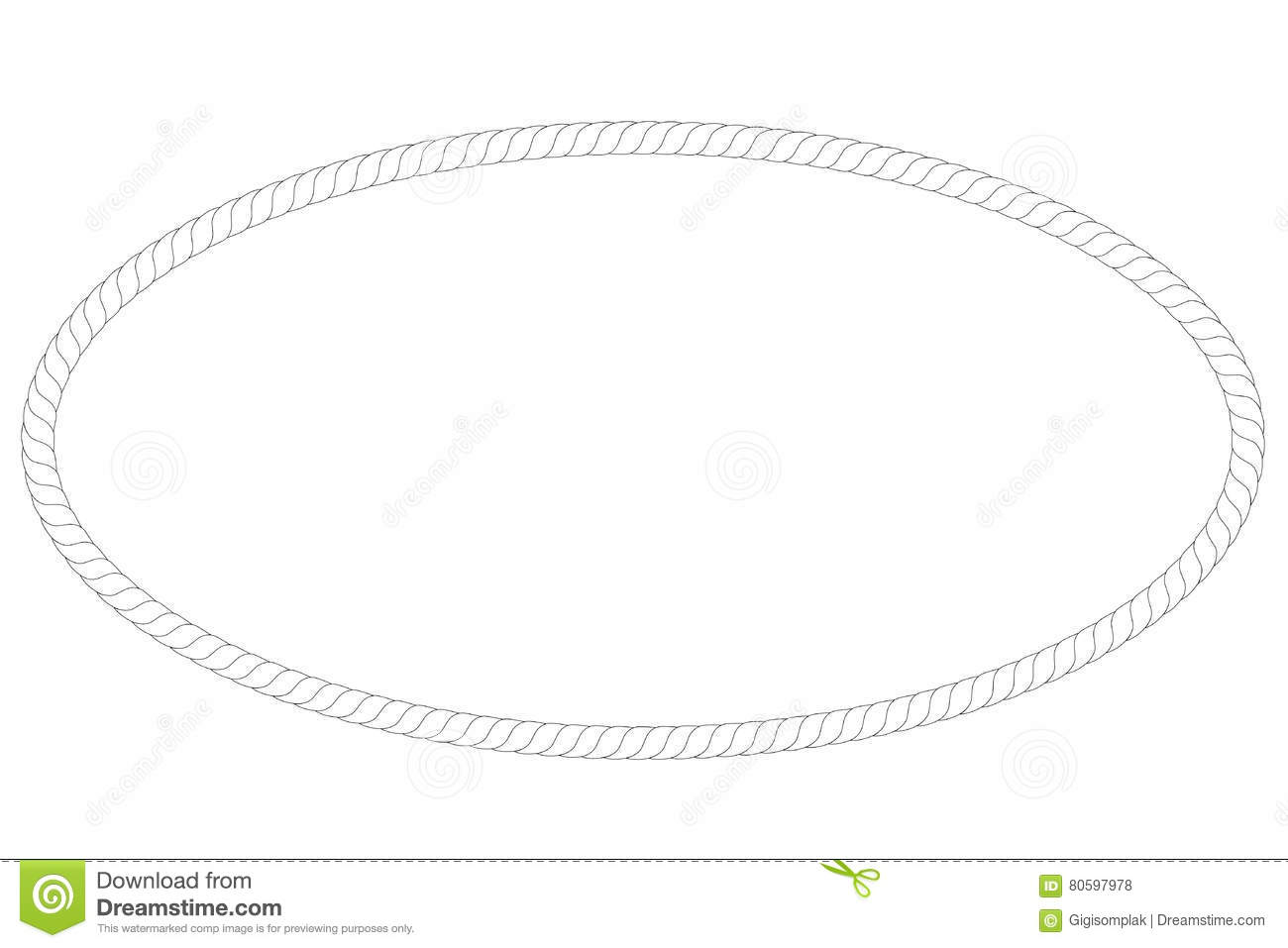 Oval Frame From Rope, Isolated On White Stock Vector - Illustration ...
