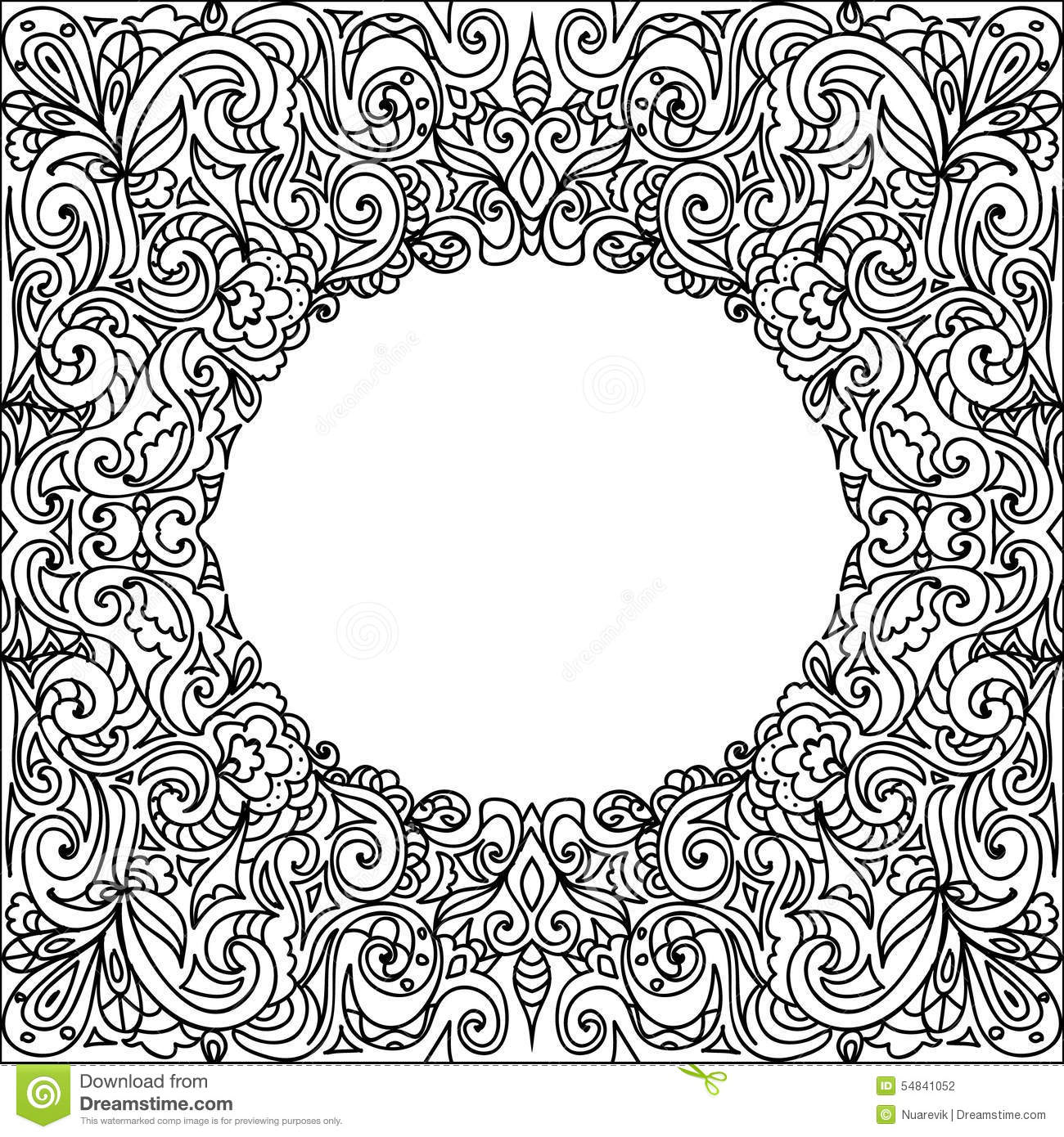 Clip Art Frame Coloring Page oval frame zentangle stock illustration image 54841052 zentangle