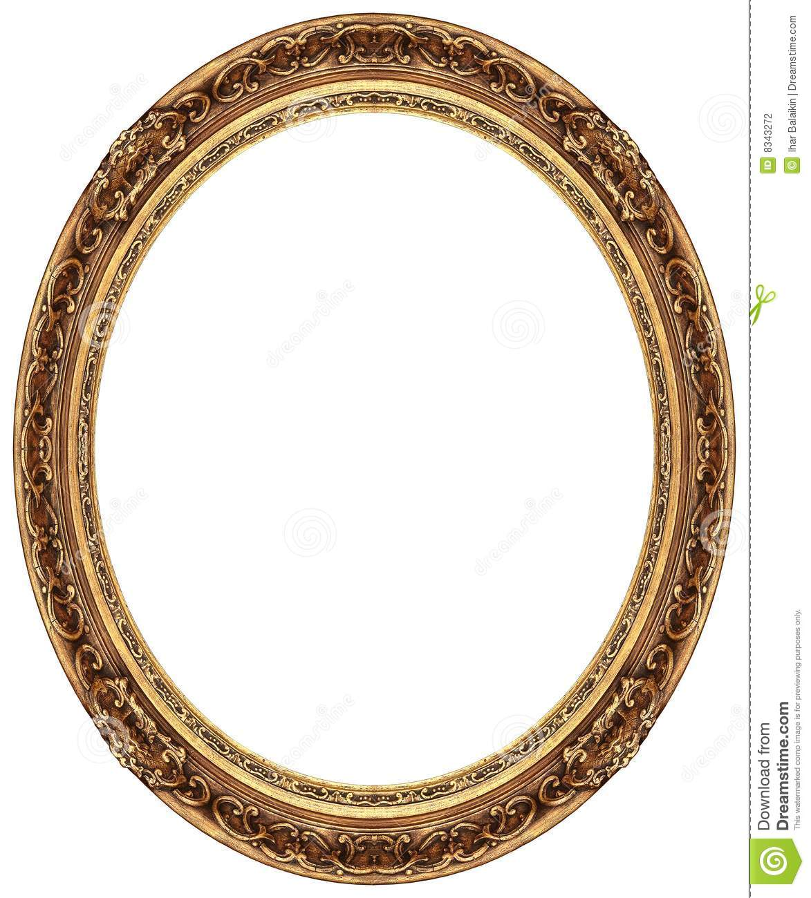 Oval Gold Picture Frame Stock Photography - Image: 8343272