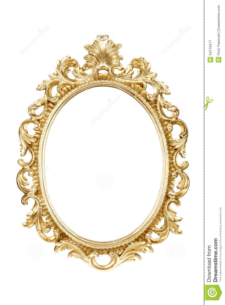 Oval gold picture frame isolated with clipping path stock for Marco espejo vintage