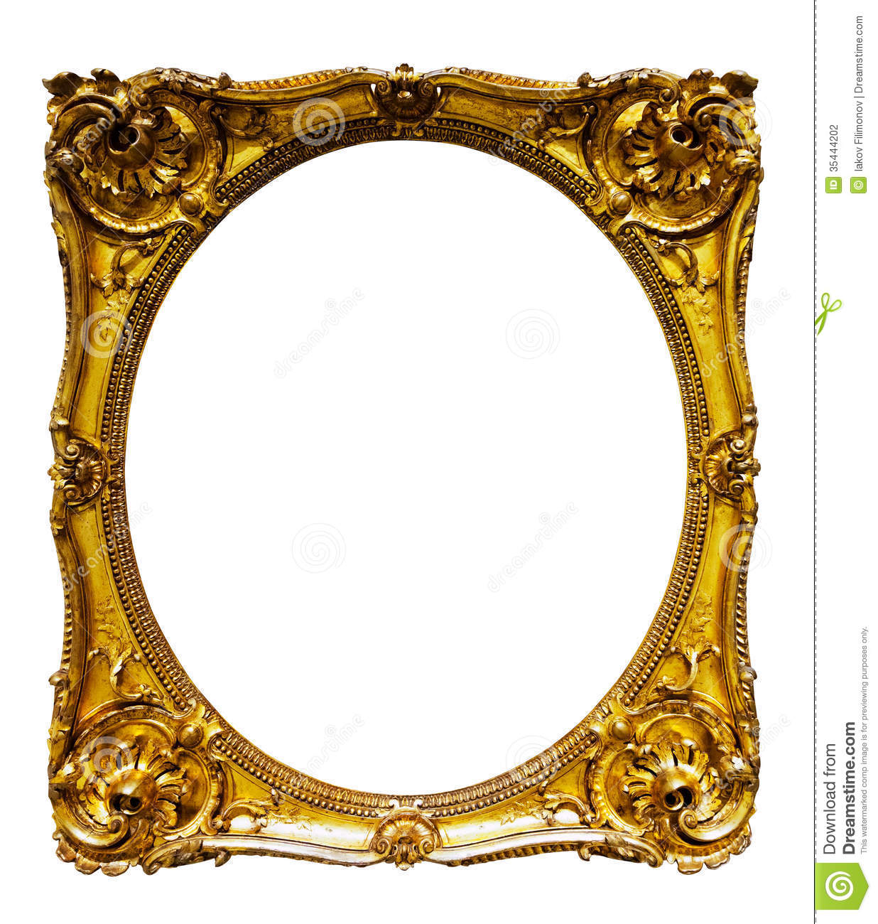 Oval Gold Picture Frame Stock Photo Image Of Pattern