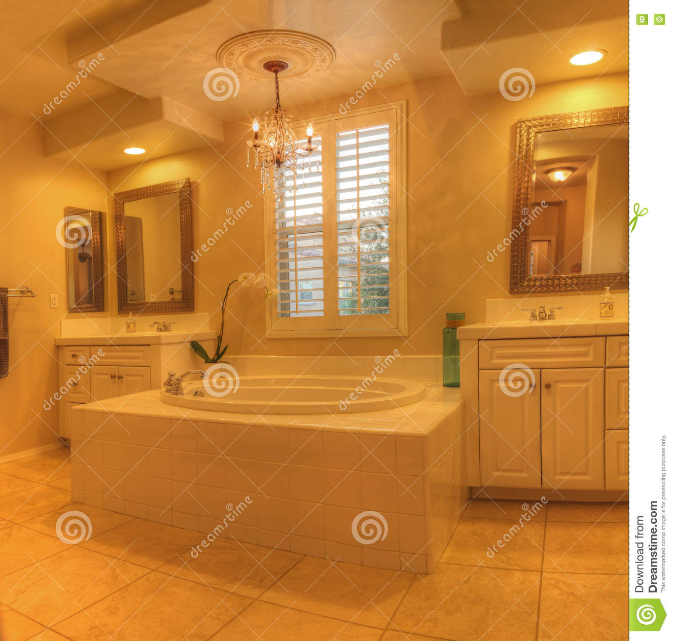 Oval hot tub spa bathtub in a marble bathroom stock image image of