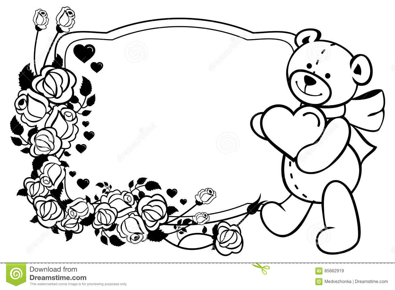 Oval Label With Outline Roses And Cute Teddy Bear Holding ...