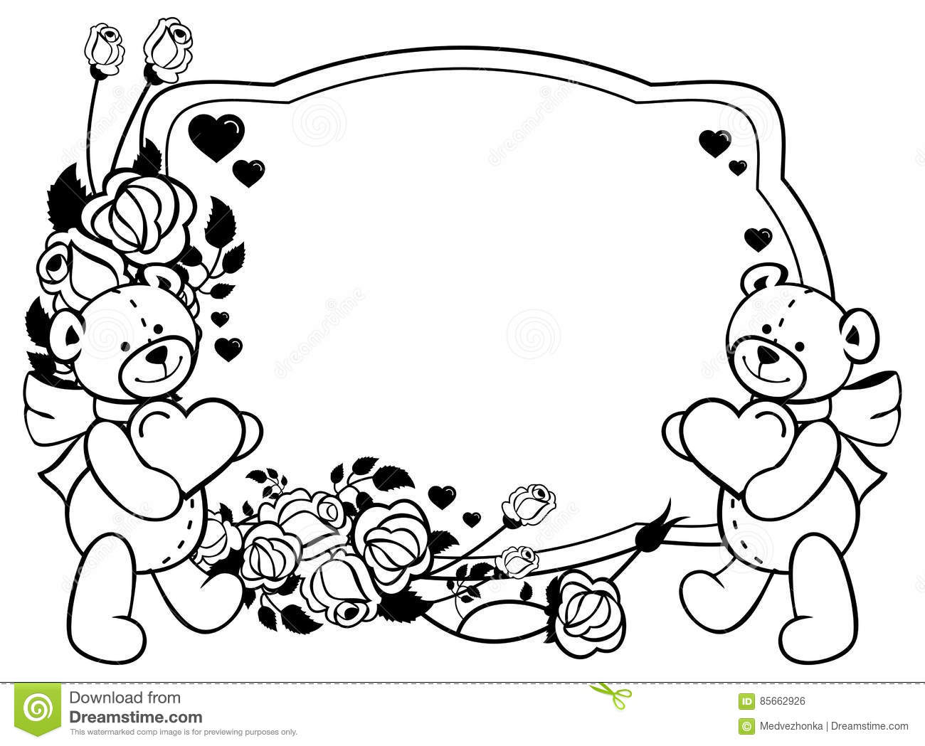 coloring pages teddy bear holding roses | Oval Label With Outline Roses And Cute Teddy Bear Holding ...