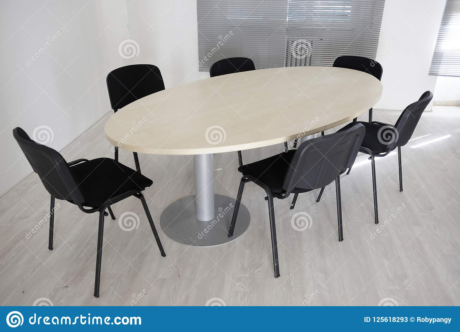 Picture of: Oval Meeting Table Stock Image Image Of Office Business 125618293