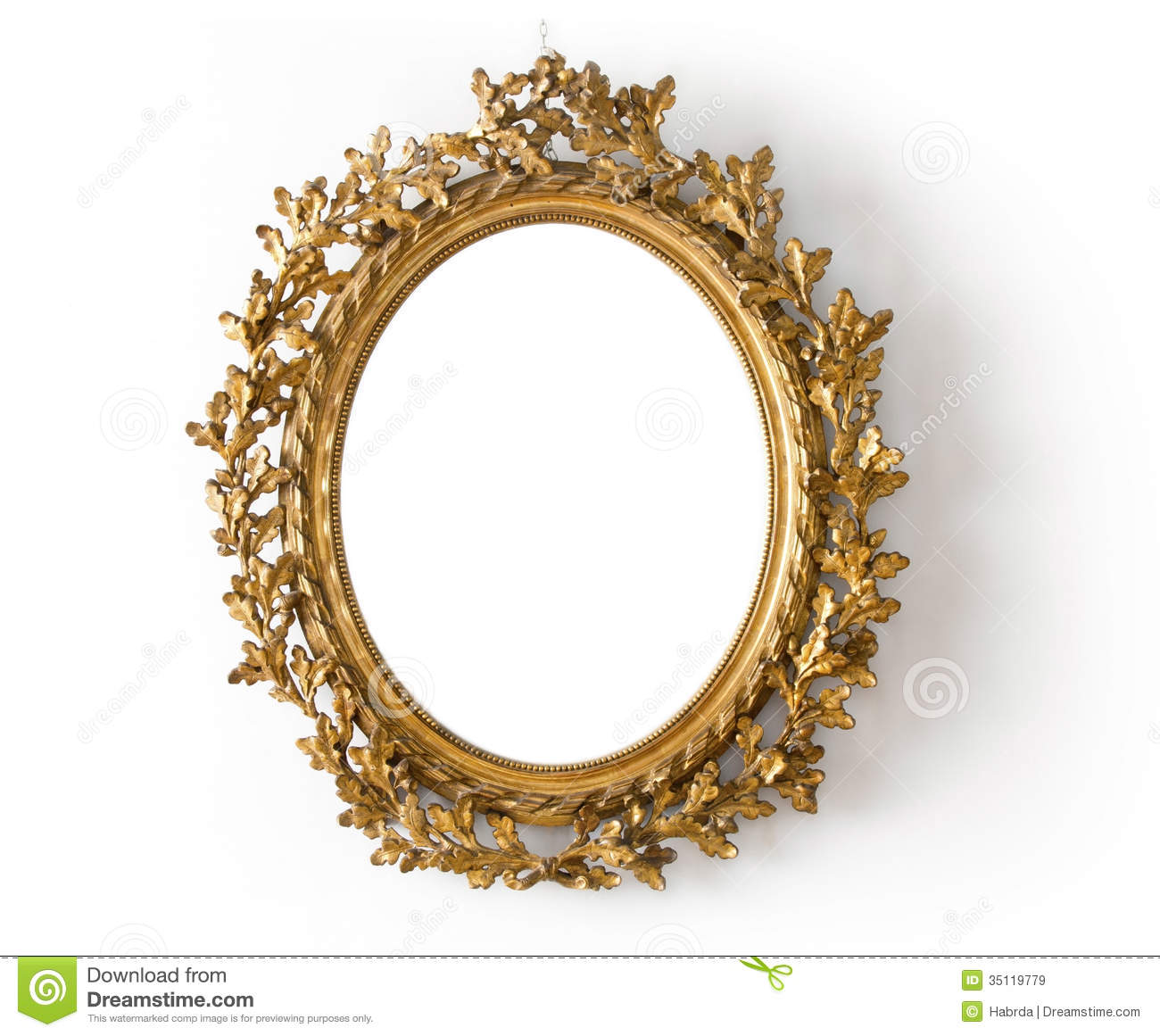 oval mirror in a gold frame royalty free stock images