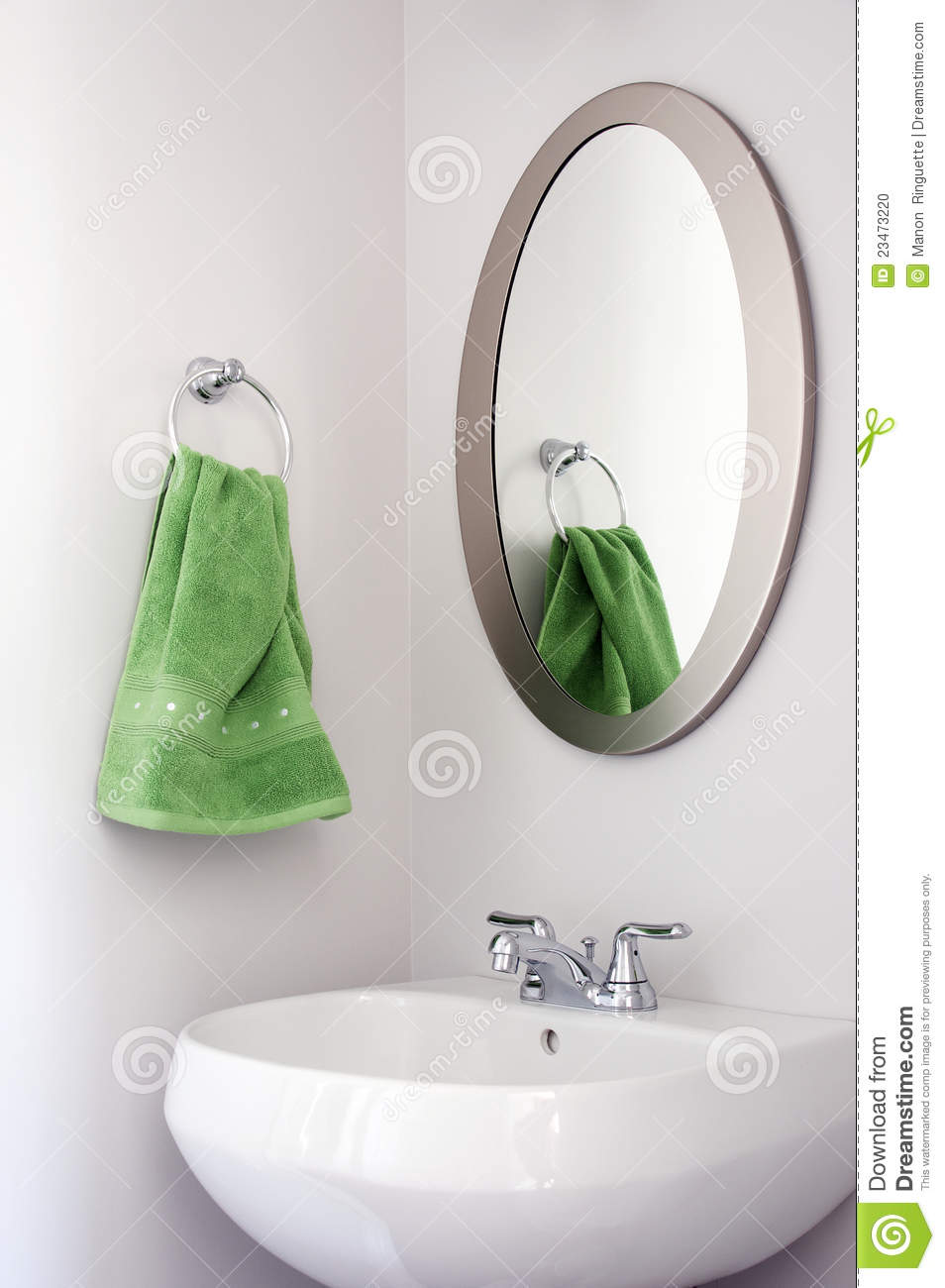 Oval Mirror In Powder Room Stock Photo Image Of Bath 23473220
