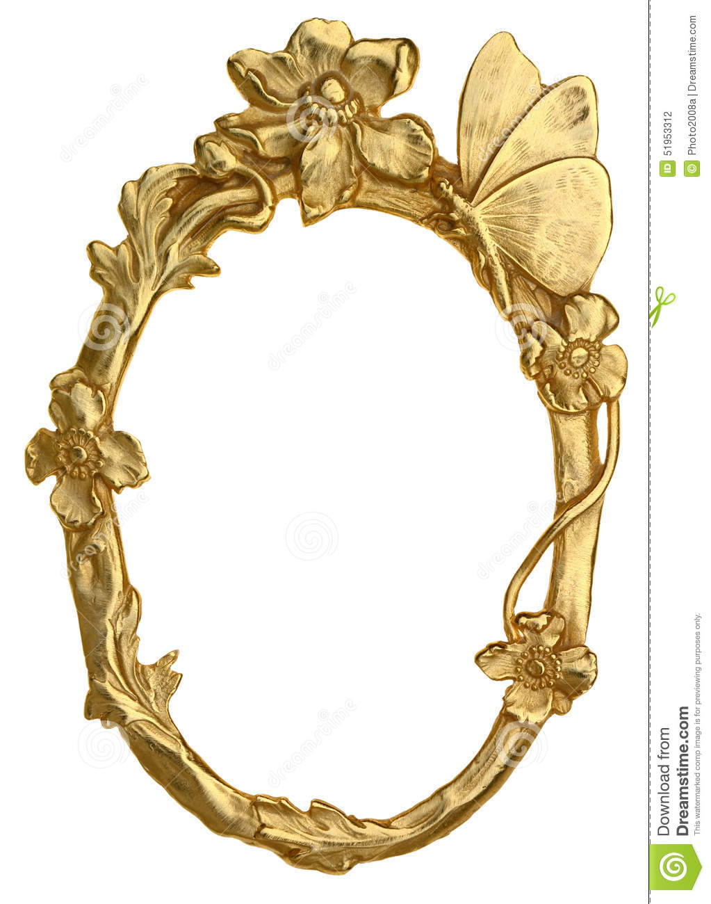 Oval Picture Frame With Butterfly Stock Photo - Image of gallery ...