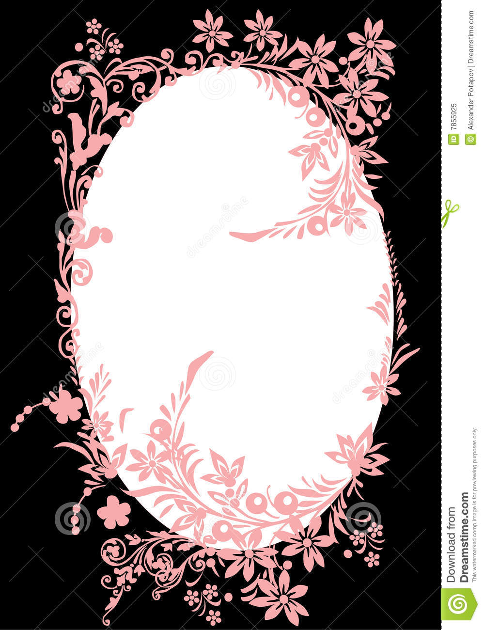 Oval Pink Frame With Curles On Black Stock Illustration