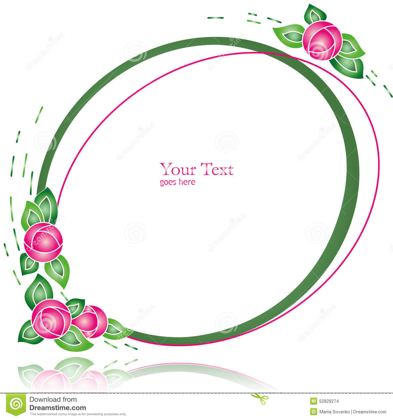 Oval Simple Frame With Abstract Flowers