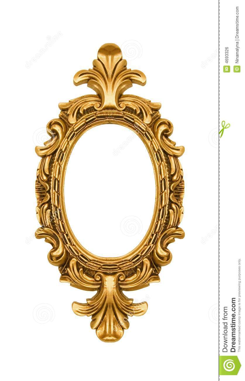 Oval Vintage Gold Ornate Frame Stock Photo Image 4693326