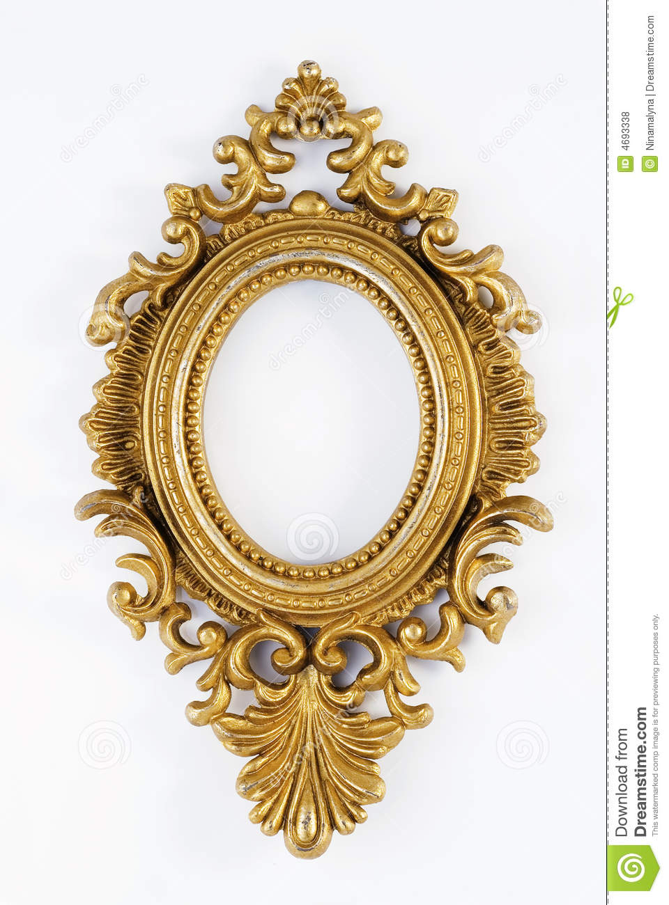Oval Vintage Gold Ornate Frame Stock Photo Image 4693338