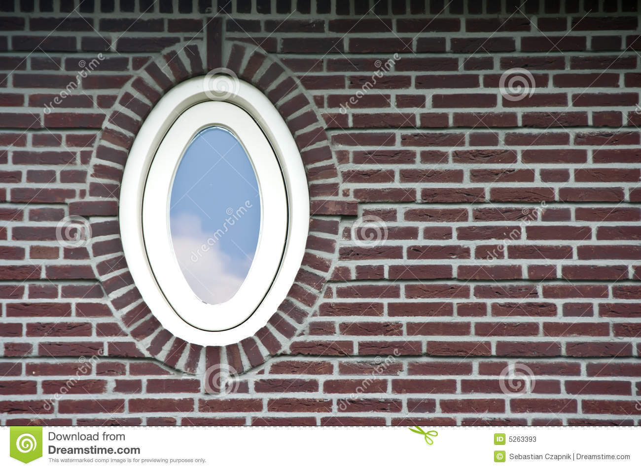 Oval Window In Brick Wall Stock Image Image Of House 5263393