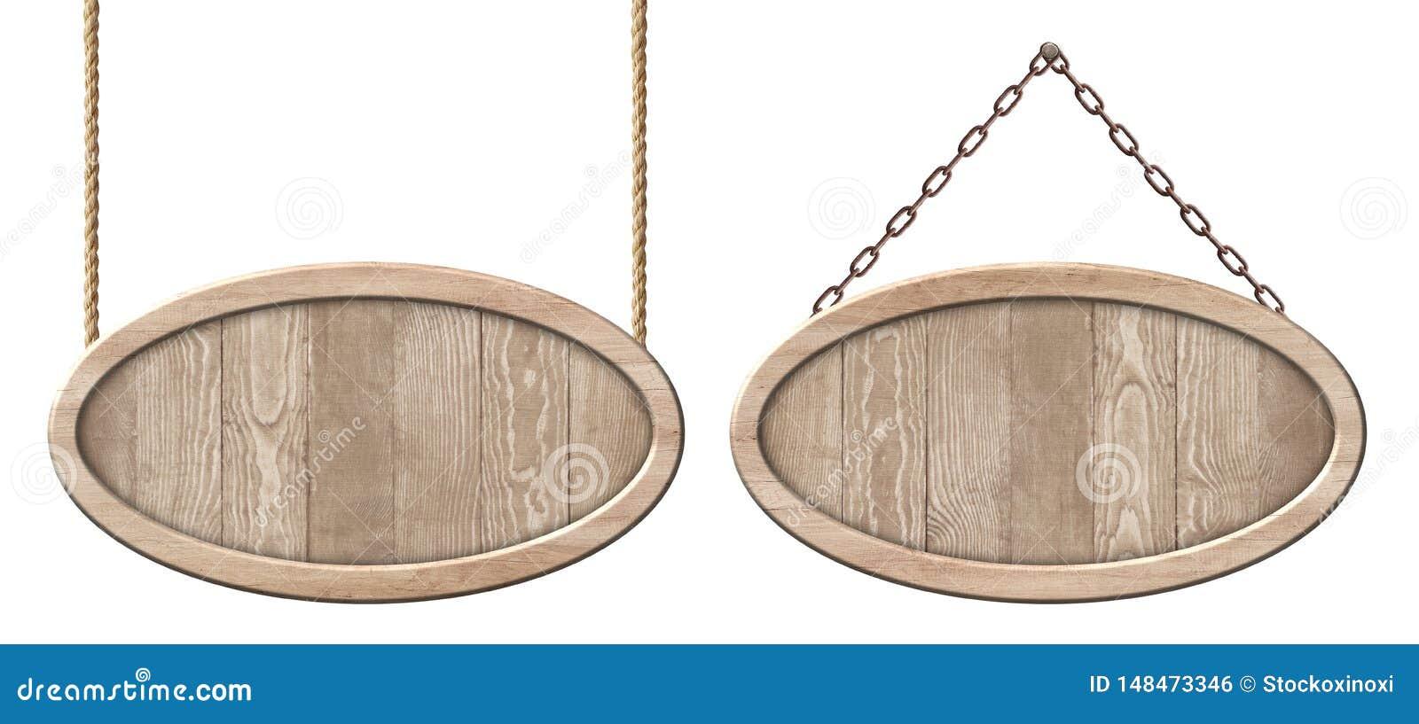 Ovale houten die raad van natuurlijk hout en met het heldere kader hangen op kabels en kettingen wordt gemaakt